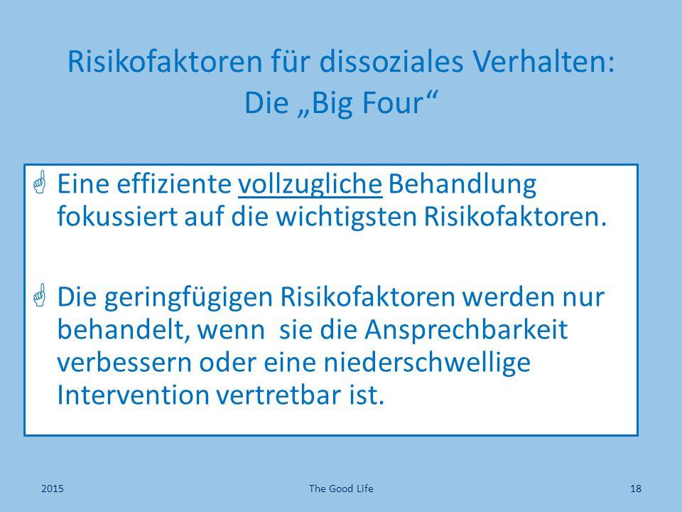 """Risikofaktoren für dissoziales Verhalten: Die """"Big Four""""  Eine effiziente vollzugliche Behandlung fokussiert auf die wichtigsten Risikofaktoren.  Di"""
