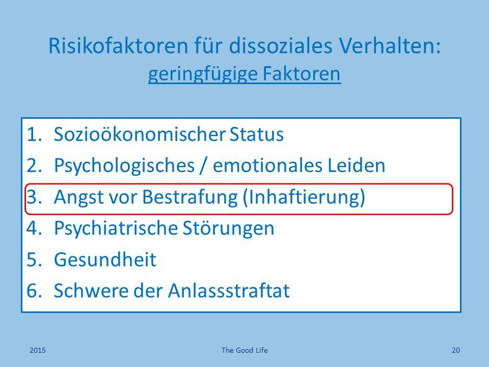 Risikofaktoren für dissoziales Verhalten: geringfügige Faktoren 1.Sozioökonomischer Status 2.Psychologisches / emotionales Leiden 3.Angst vor Bestrafung (Inhaftierung) 4.Psychiatrische Störungen 5.Gesundheit 6.Schwere der Anlassstraftat 2015The Good Life20