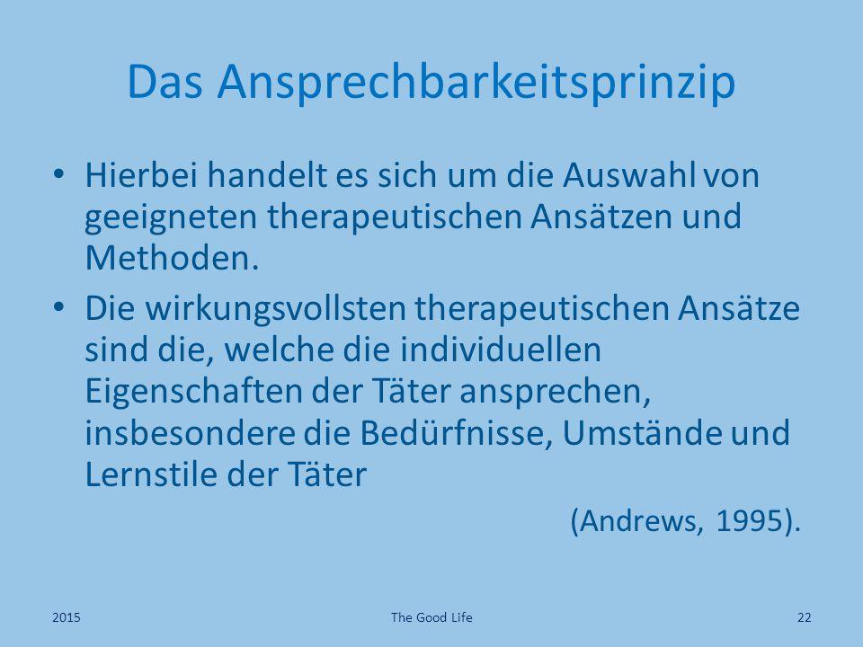 Das Ansprechbarkeitsprinzip Hierbei handelt es sich um die Auswahl von geeigneten therapeutischen Ansätzen und Methoden. Die wirkungsvollsten therapeu
