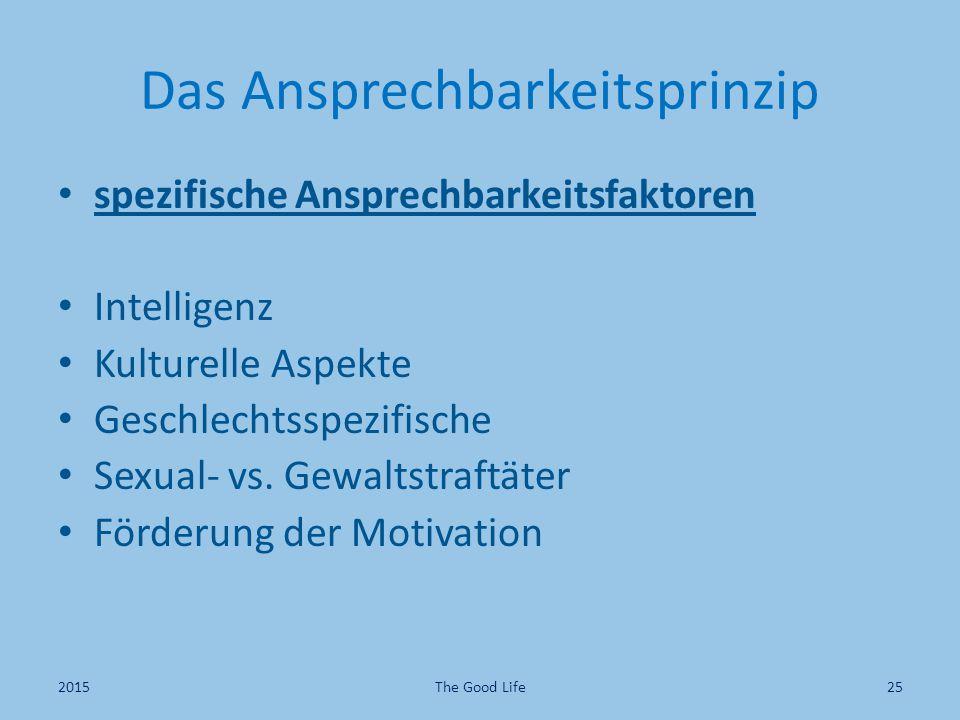 Das Ansprechbarkeitsprinzip spezifische Ansprechbarkeitsfaktoren Intelligenz Kulturelle Aspekte Geschlechtsspezifische Sexual- vs.