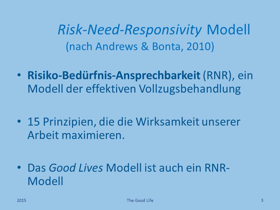 Risk-Need-Responsivity Modell (nach Andrews & Bonta, 2010) Risiko-Bedürfnis-Ansprechbarkeit (RNR), ein Modell der effektiven Vollzugsbehandlung 15 Prinzipien, die die Wirksamkeit unserer Arbeit maximieren.