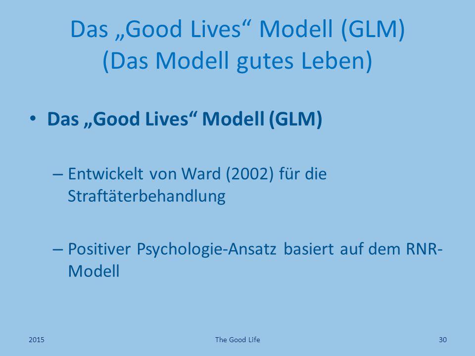 "Das ""Good Lives Modell (GLM) (Das Modell gutes Leben) Das ""Good Lives Modell (GLM) – Entwickelt von Ward (2002) für die Straftäterbehandlung – Positiver Psychologie-Ansatz basiert auf dem RNR- Modell The Good Life302015"