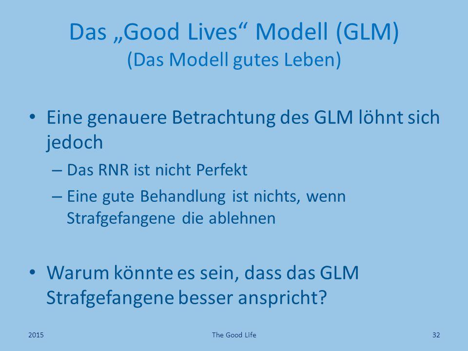 """Das """"Good Lives"""" Modell (GLM) (Das Modell gutes Leben) Eine genauere Betrachtung des GLM löhnt sich jedoch – Das RNR ist nicht Perfekt – Eine gute Beh"""