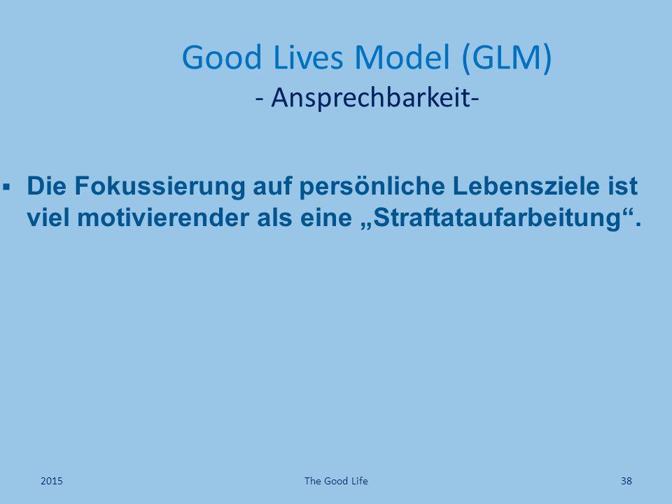 """ Die Fokussierung auf persönliche Lebensziele ist viel motivierender als eine """"Straftataufarbeitung"""". Good Lives Model (GLM) - Ansprechbarkeit- The G"""