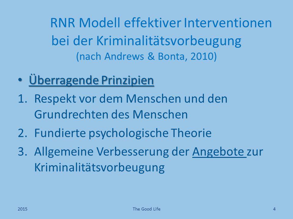 RNR Modell effektiver Interventionen bei der Kriminalitätsvorbeugung (nach Andrews & Bonta, 2010) Überragende Prinzipien Überragende Prinzipien 1.Resp