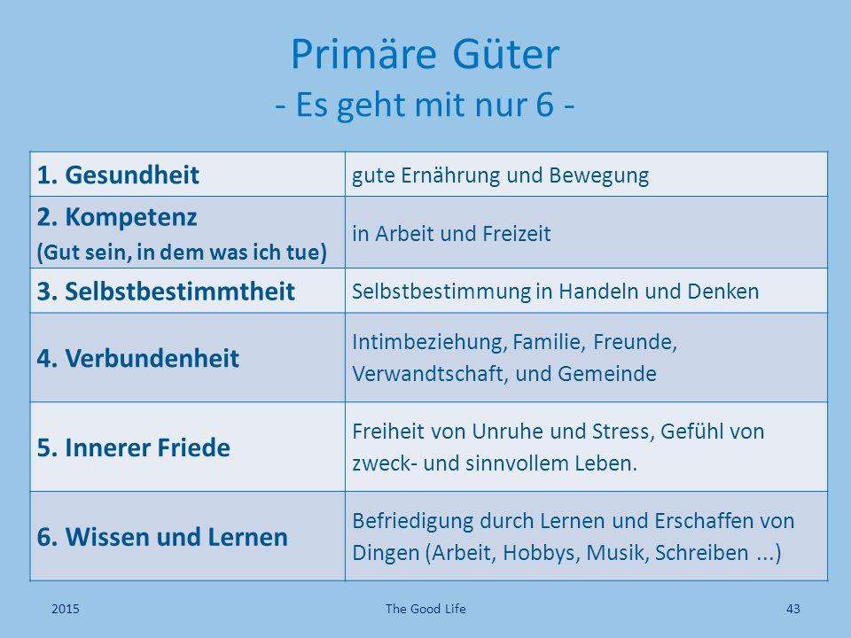 Primäre Güter - Es geht mit nur 6 - 1. Gesundheit gute Ernährung und Bewegung 2. Kompetenz (Gut sein, in dem was ich tue) in Arbeit und Freizeit 3. Se