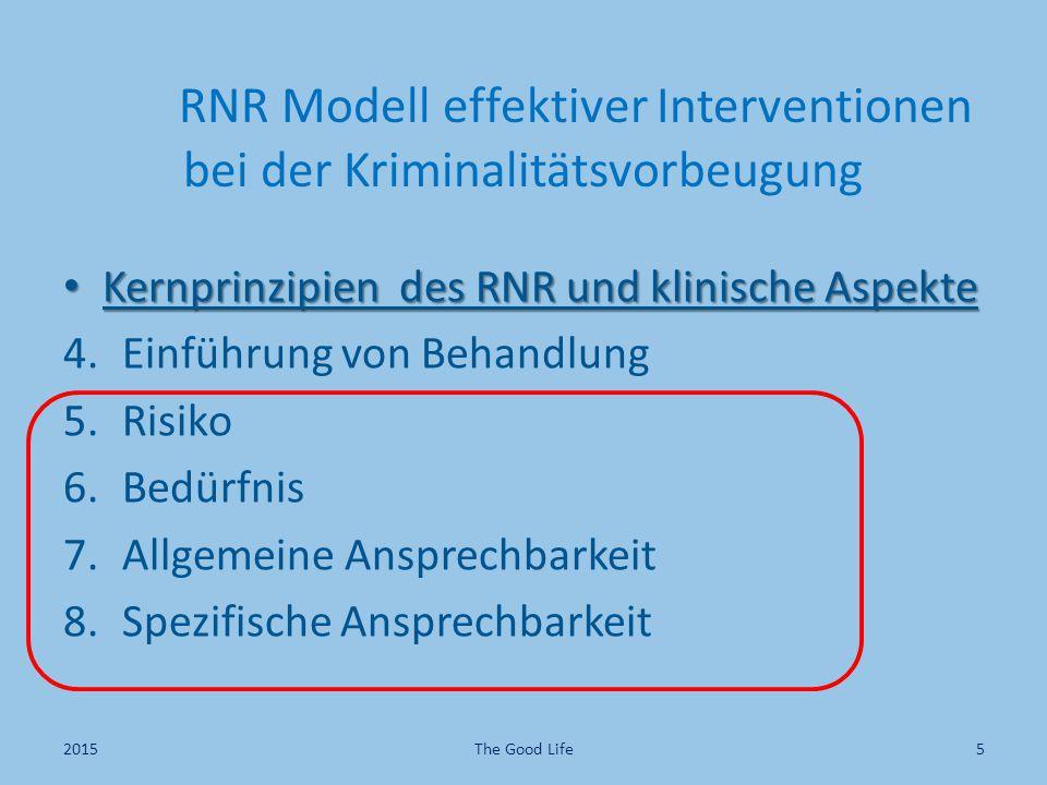 RNR Modell effektiver Interventionen bei der Kriminalitätsvorbeugung Kernprinzipien des RNR und klinische Aspekte Kernprinzipien des RNR und klinische Aspekte 4.Einführung von Behandlung 5.Risiko 6.Bedürfnis 7.Allgemeine Ansprechbarkeit 8.Spezifische Ansprechbarkeit 2015The Good Life5