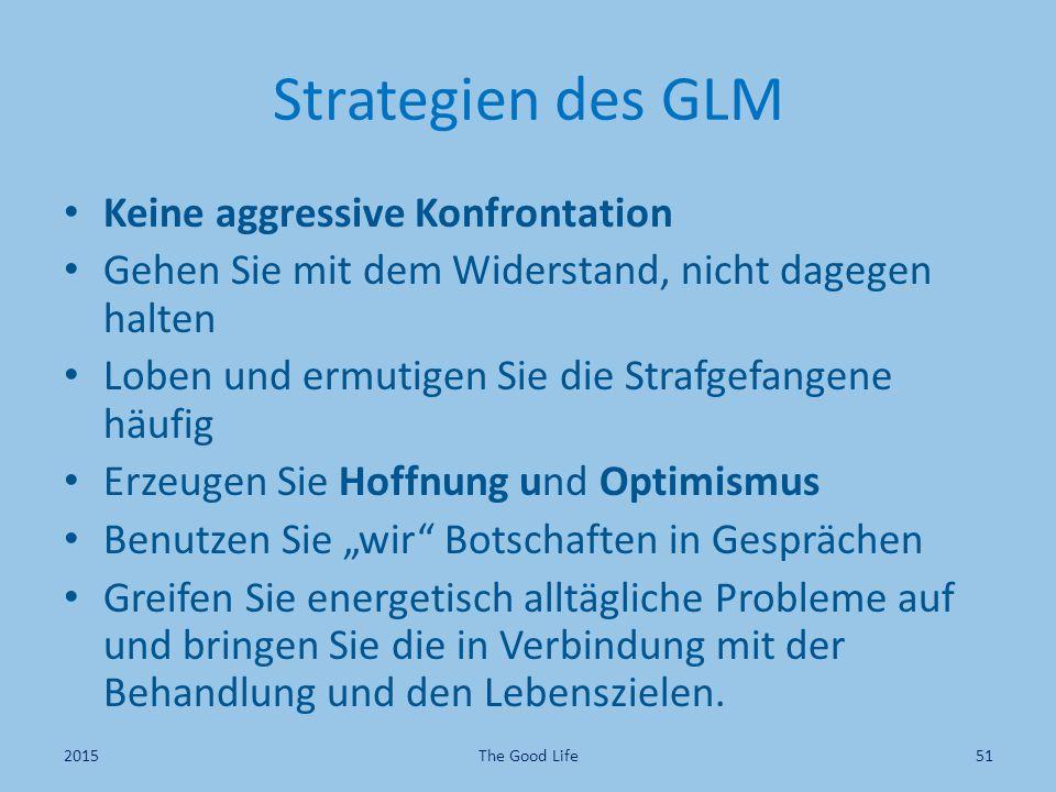 Strategien des GLM Keine aggressive Konfrontation Gehen Sie mit dem Widerstand, nicht dagegen halten Loben und ermutigen Sie die Strafgefangene häufig