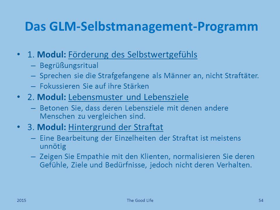 Das GLM-Selbstmanagement-Programm 1. Modul: Förderung des Selbstwertgefühls – Begrüßungsritual – Sprechen sie die Strafgefangene als Männer an, nicht