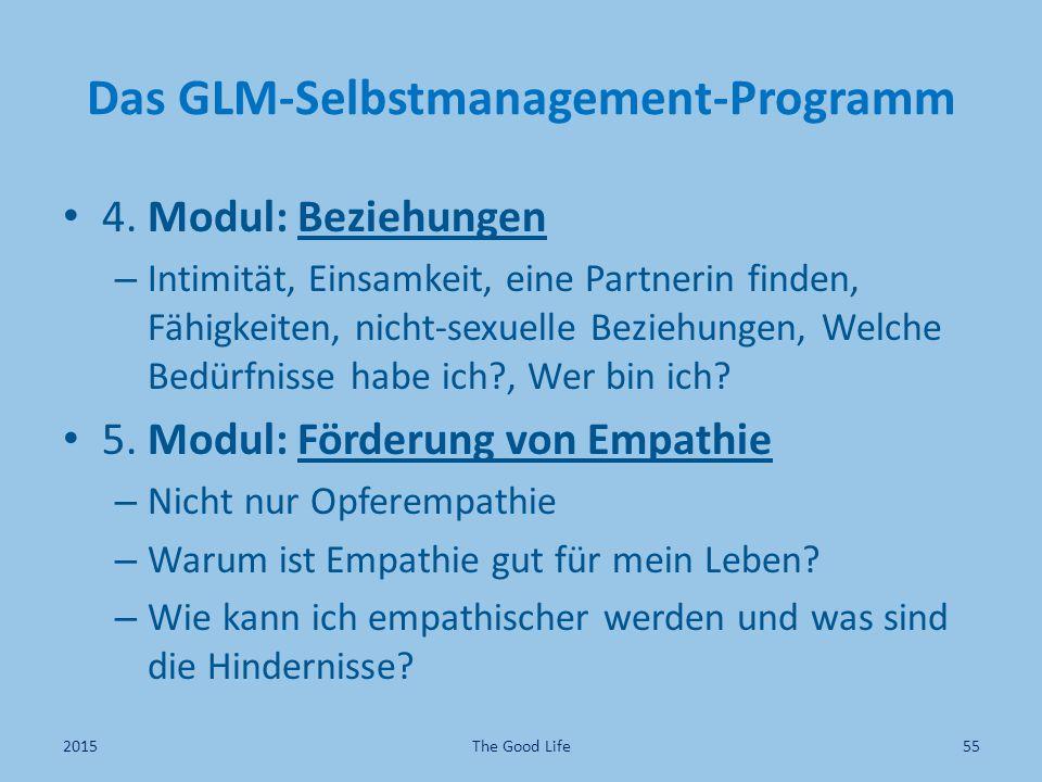 Das GLM-Selbstmanagement-Programm 4. Modul: Beziehungen – Intimität, Einsamkeit, eine Partnerin finden, Fähigkeiten, nicht-sexuelle Beziehungen, Welch
