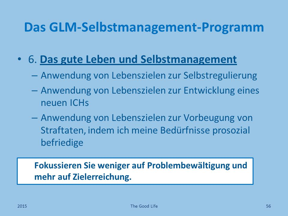 Das GLM-Selbstmanagement-Programm 6.