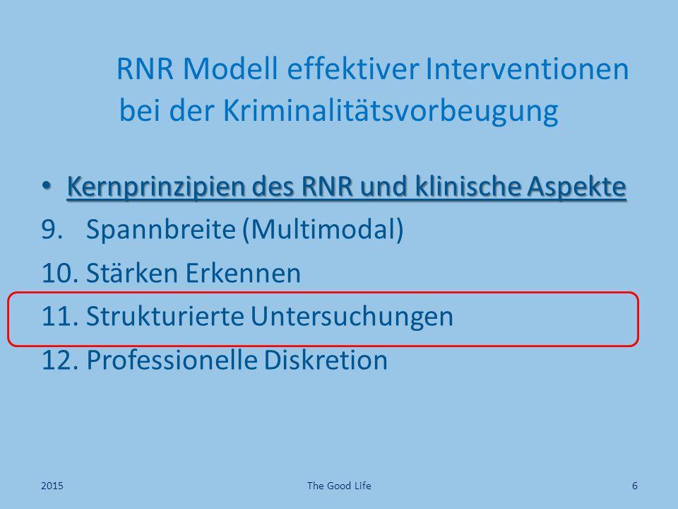 RNR Modell effektiver Interventionen bei der Kriminalitätsvorbeugung Kernprinzipien des RNR und klinische Aspekte Kernprinzipien des RNR und klinische Aspekte 9.
