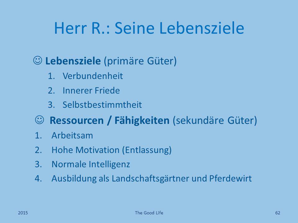 Herr R.: Seine Lebensziele Lebensziele (primäre Güter) 1.Verbundenheit 2.Innerer Friede 3.Selbstbestimmtheit Ressourcen / Fähigkeiten (sekundäre Güter
