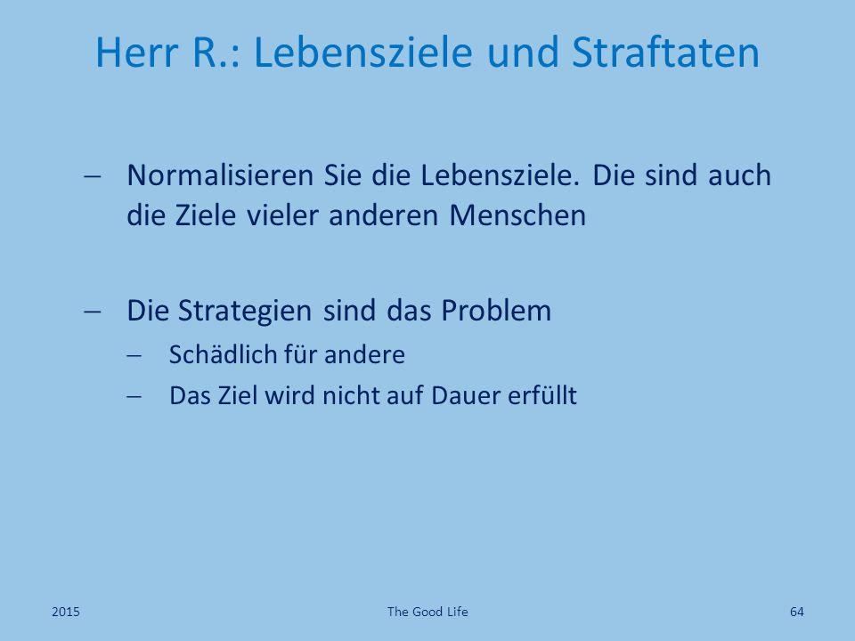 Herr R.: Lebensziele und Straftaten  Normalisieren Sie die Lebensziele. Die sind auch die Ziele vieler anderen Menschen  Die Strategien sind das Pro