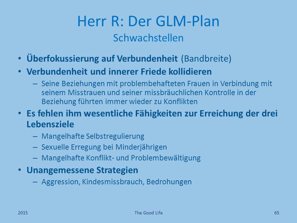 Herr R: Der GLM-Plan Schwachstellen Überfokussierung auf Verbundenheit (Bandbreite) Verbundenheit und innerer Friede kollidieren – Seine Beziehungen m