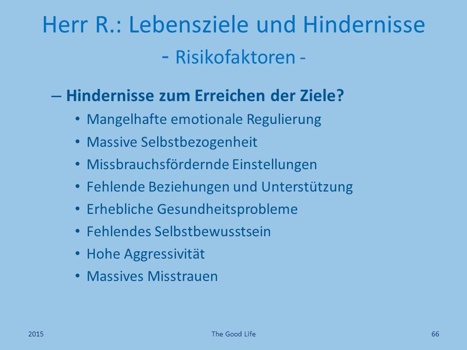 Herr R.: Lebensziele und Hindernisse - Risikofaktoren - – Hindernisse zum Erreichen der Ziele? Mangelhafte emotionale Regulierung Massive Selbstbezoge