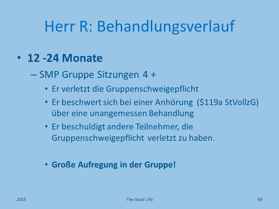 Herr R: Behandlungsverlauf 12 -24 Monate – SMP Gruppe Sitzungen 4 + Er verletzt die Gruppenschweigepflicht Er beschwert sich bei einer Anhörung ($119a