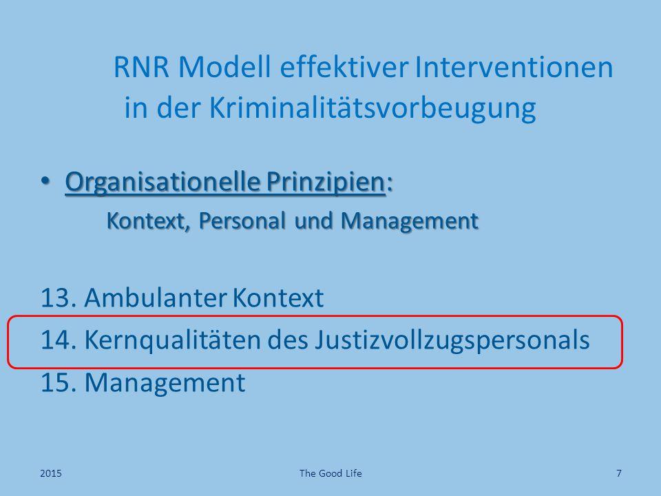 RNR Modell effektiver Interventionen in der Kriminalitätsvorbeugung Organisationelle Prinzipien: Organisationelle Prinzipien: Kontext, Personal und Ma