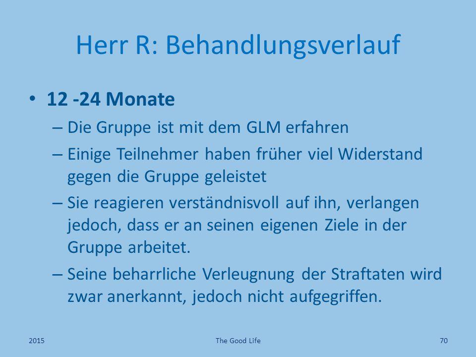 Herr R: Behandlungsverlauf 12 -24 Monate – Die Gruppe ist mit dem GLM erfahren – Einige Teilnehmer haben früher viel Widerstand gegen die Gruppe geleistet – Sie reagieren verständnisvoll auf ihn, verlangen jedoch, dass er an seinen eigenen Ziele in der Gruppe arbeitet.