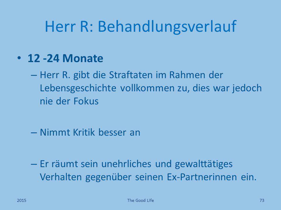 Herr R: Behandlungsverlauf 12 -24 Monate – Herr R. gibt die Straftaten im Rahmen der Lebensgeschichte vollkommen zu, dies war jedoch nie der Fokus – N