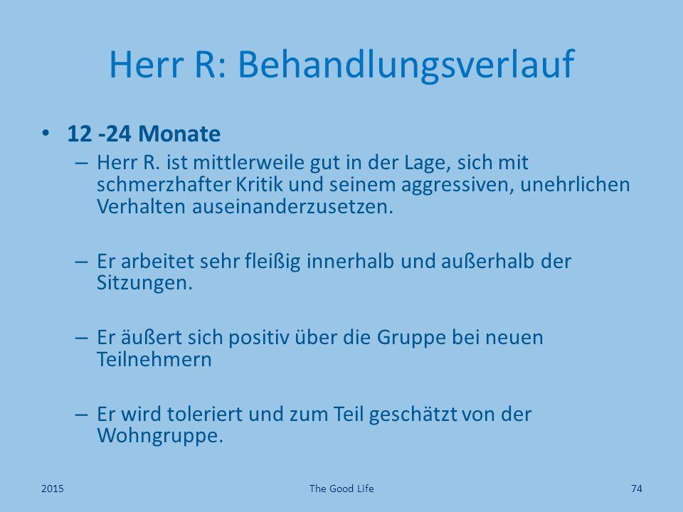 Herr R: Behandlungsverlauf 12 -24 Monate – Herr R. ist mittlerweile gut in der Lage, sich mit schmerzhafter Kritik und seinem aggressiven, unehrlichen