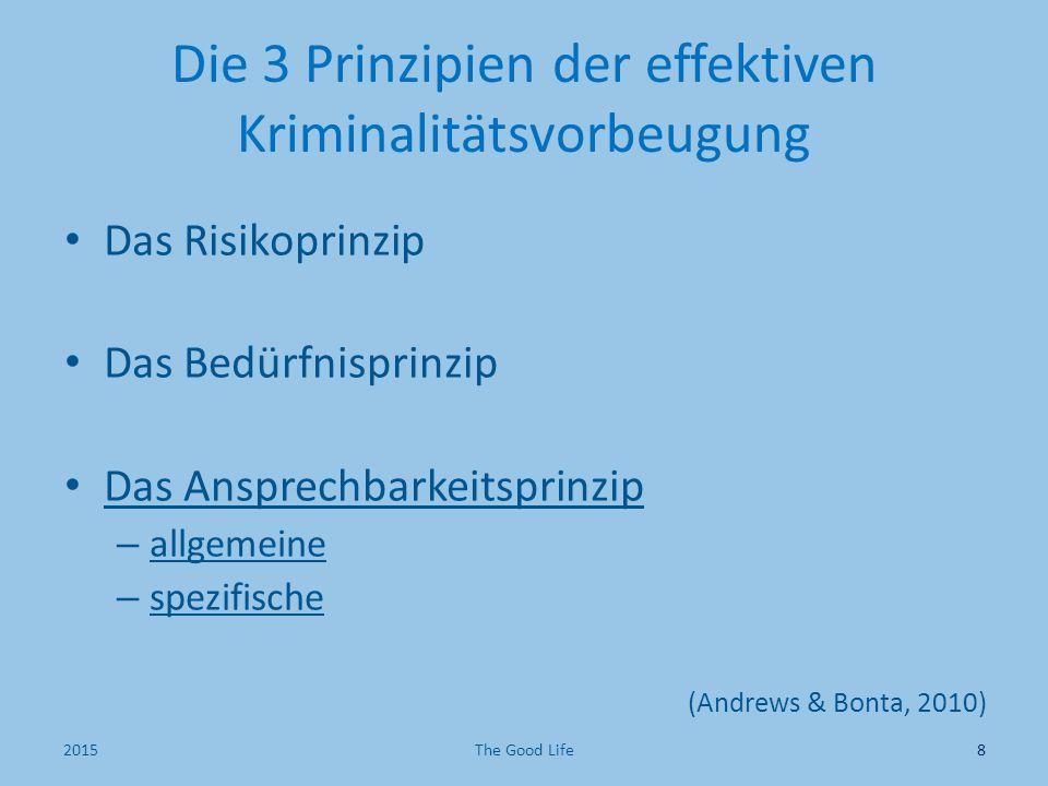 Die 3 Prinzipien der effektiven Kriminalitätsvorbeugung Das Risikoprinzip Das Bedürfnisprinzip Das Ansprechbarkeitsprinzip – allgemeine – spezifische (Andrews & Bonta, 2010) 82015The Good Life