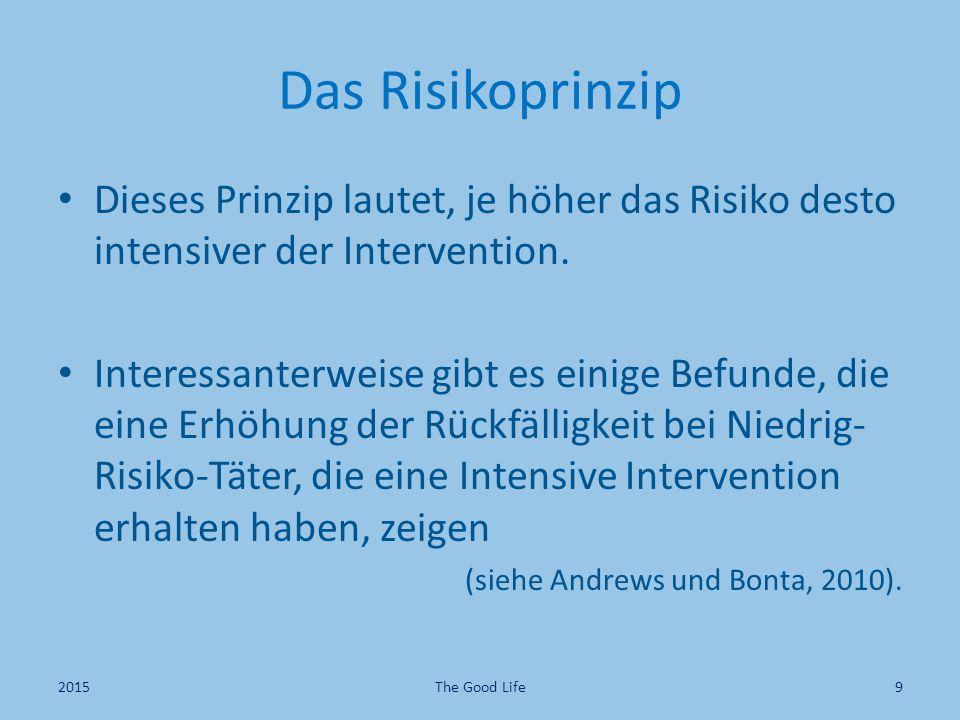 Das Risikoprinzip Dieses Prinzip lautet, je höher das Risiko desto intensiver der Intervention. Interessanterweise gibt es einige Befunde, die eine Er