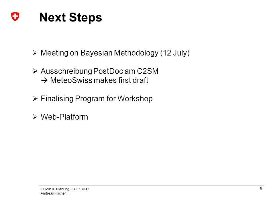 CH2018   Planung, 07.05.2015 Andreas Fischer 10 Next Steps