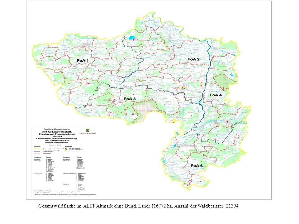 Gesamtwaldfläche im ALFF Altmark ohne Bund, Land: 116772 ha, Anzahl der Waldbesitzer: 21394