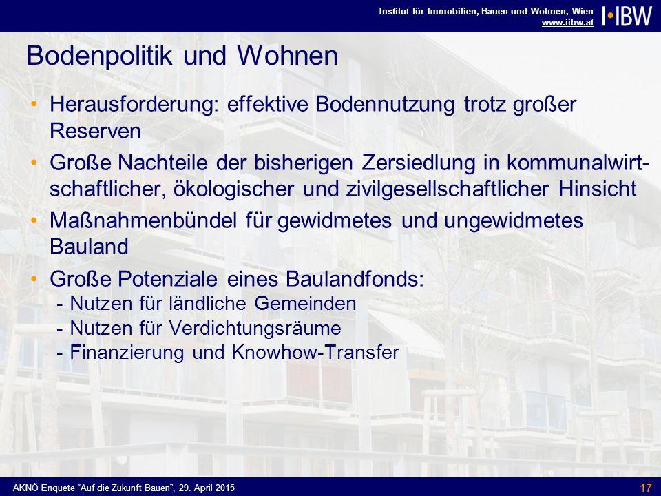 Institut für Immobilien, Bauen und Wohnen, Wien www.iibw.at AKNÖ Enquete Auf die Zukunft Bauen , 29.