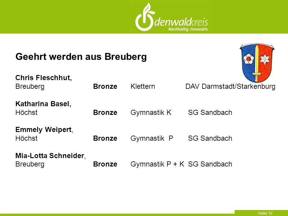 Seite 12 Geehrt werden aus Breuberg Chris Fleschhut, Breuberg BronzeKlettern DAV Darmstadt/Starkenburg Katharina Basel, Höchst BronzeGymnastik KSG San