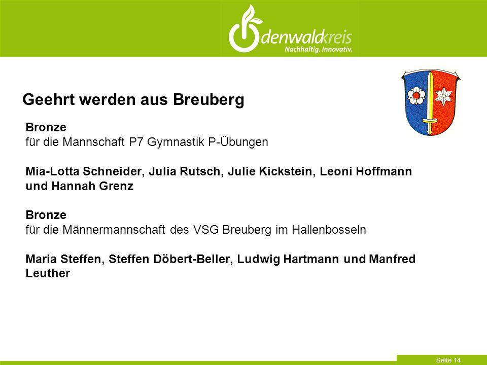 Seite 14 Bronze für die Mannschaft P7 Gymnastik P-Übungen Mia-Lotta Schneider, Julia Rutsch, Julie Kickstein, Leoni Hoffmann und Hannah Grenz Bronze f