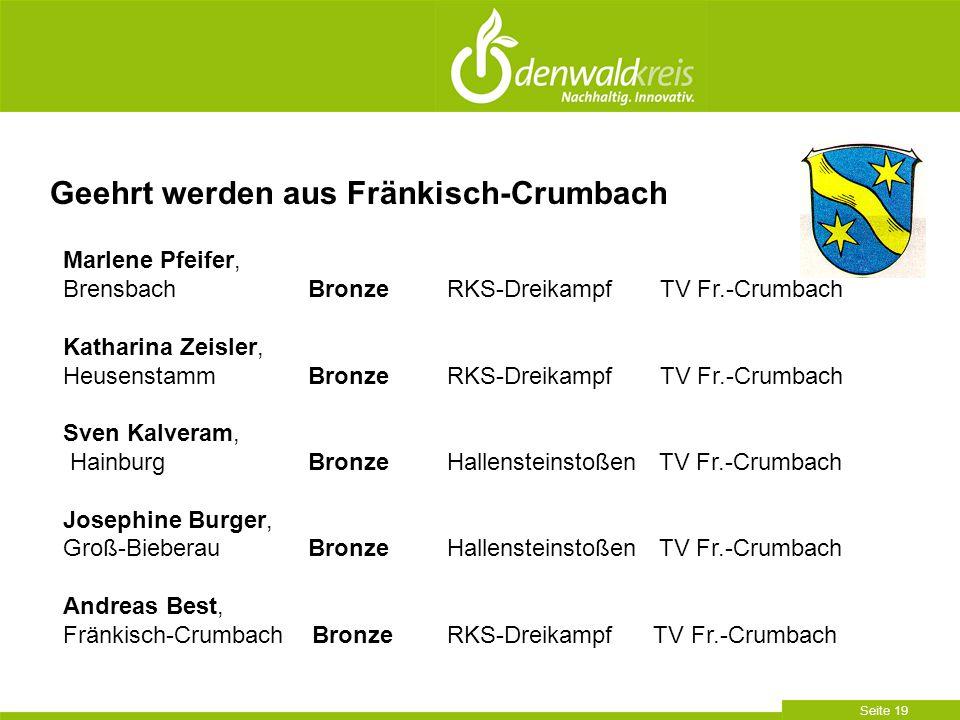 Seite 19 Geehrt werden aus Fränkisch-Crumbach Marlene Pfeifer, Brensbach BronzeRKS-Dreikampf TV Fr.-Crumbach Katharina Zeisler, Heusenstamm BronzeRKS-