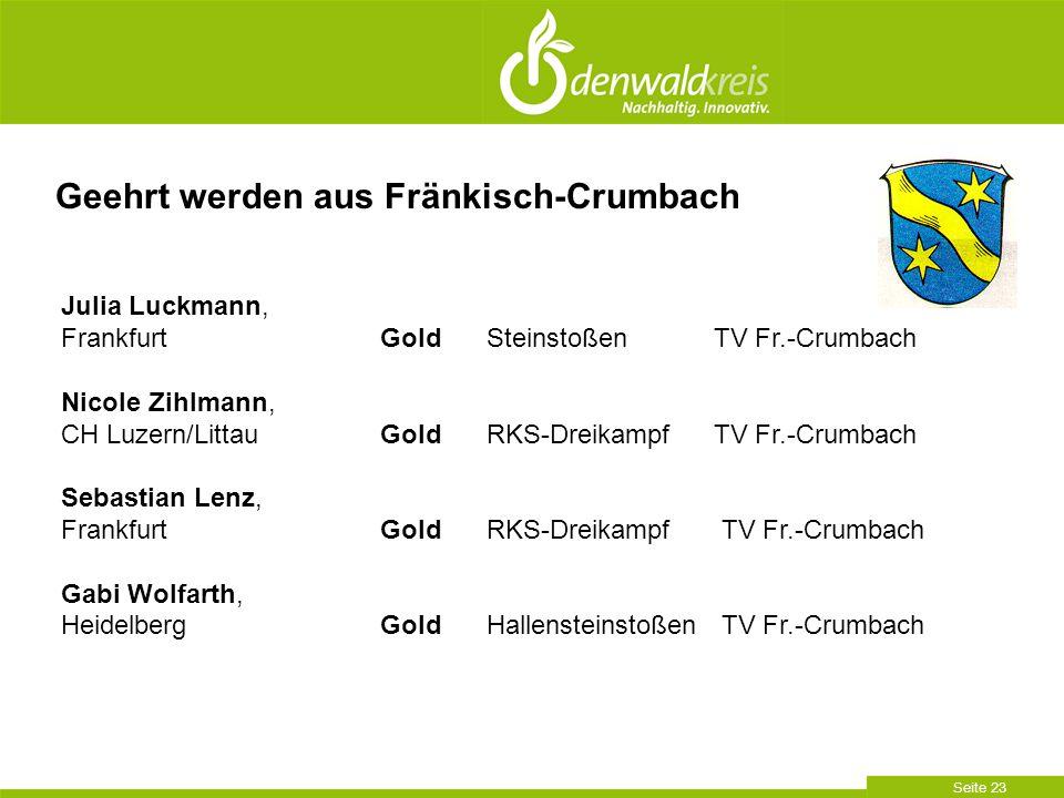 Seite 23 Geehrt werden aus Fränkisch-Crumbach Julia Luckmann, FrankfurtGoldSteinstoßen TV Fr.-Crumbach Nicole Zihlmann, CH Luzern/LittauGoldRKS-Dreika