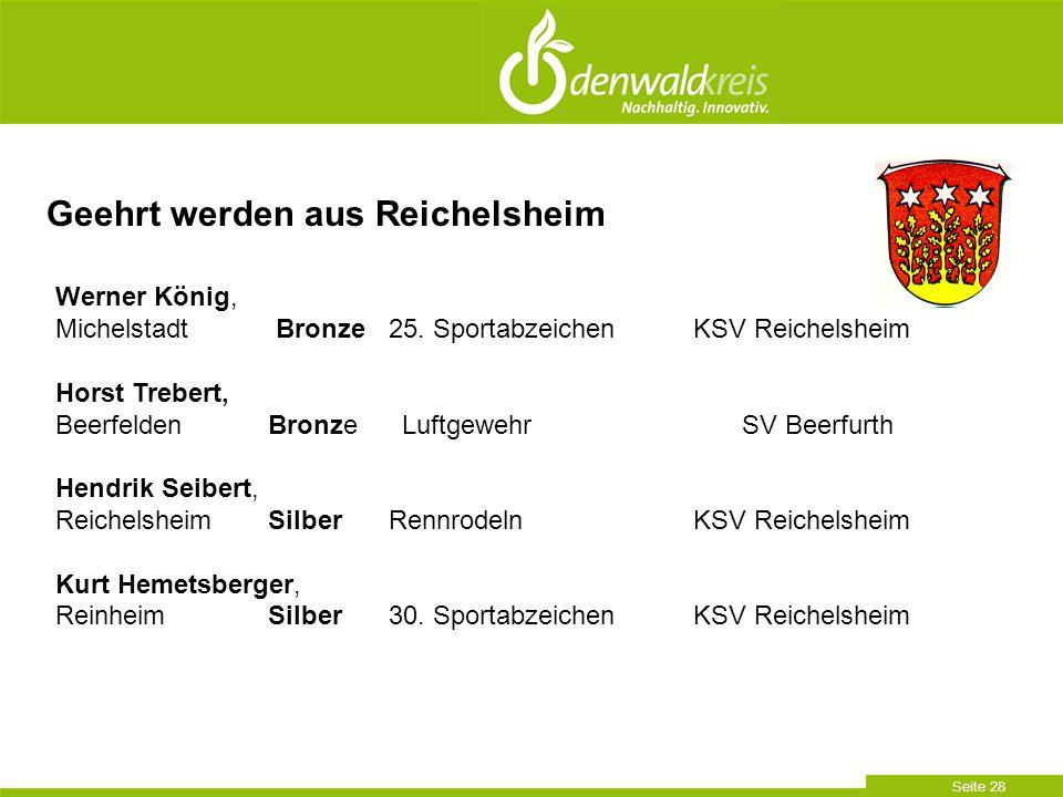 Seite 28 Geehrt werden aus Reichelsheim Werner König, Michelstadt Bronze 25. SportabzeichenKSV Reichelsheim Horst Trebert, BeerfeldenBronze Luftgewehr