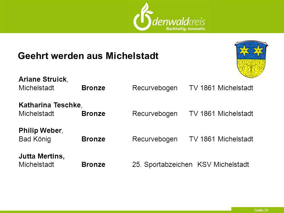 Seite 31 Geehrt werden aus Michelstadt Ariane Struick, Michelstadt BronzeRecurvebogen TV 1861 Michelstadt Katharina Teschke, Michelstadt BronzeRecurve