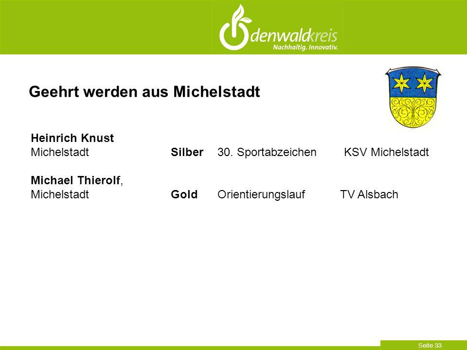 Seite 33 Geehrt werden aus Michelstadt Heinrich Knust Michelstadt Silber30. Sportabzeichen KSV Michelstadt Michael Thierolf, MichelstadtGoldOrientieru