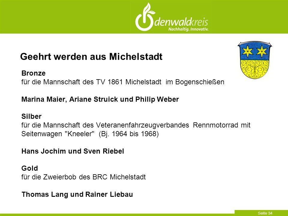 Seite 34 Bronze für die Mannschaft des TV 1861 Michelstadt im Bogenschießen Marina Maier, Ariane Struick und Philip Weber Silber für die Mannschaft de