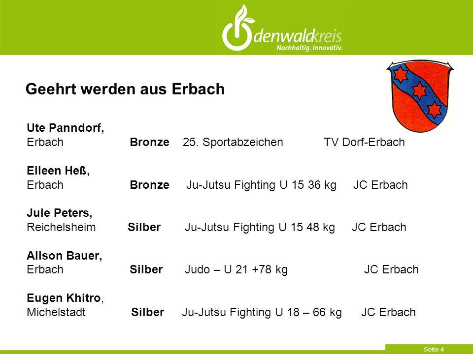 Seite 4 Ute Panndorf, Erbach Bronze 25. Sportabzeichen TV Dorf-Erbach Eileen Heß, Erbach Bronze Ju-Jutsu Fighting U 15 36 kg JC Erbach Jule Peters, Re