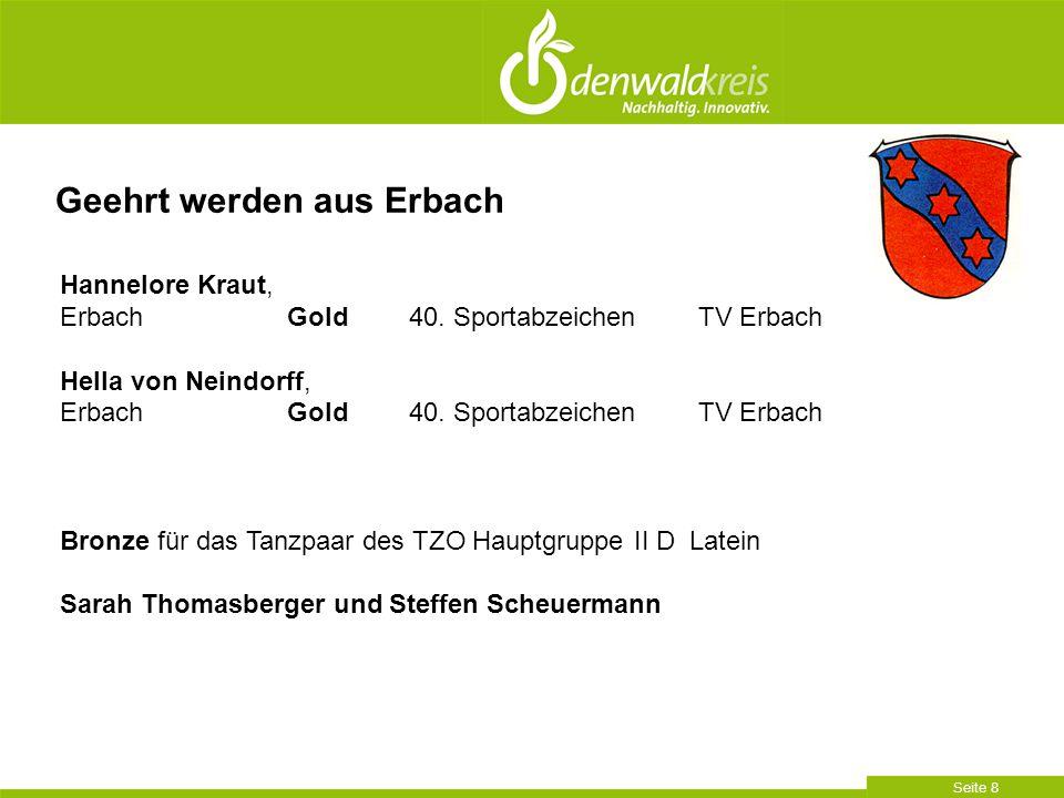 Seite 8 Geehrt werden aus Erbach Hannelore Kraut, Erbach Gold 40. SportabzeichenTV Erbach Hella von Neindorff, Erbach Gold 40. SportabzeichenTV Erbach