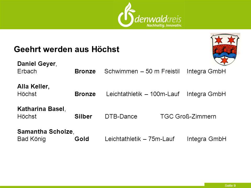 Seite 9 Daniel Geyer, Erbach Bronze Schwimmen – 50 m Freistil Integra GmbH Alla Keller, Höchst Bronze Leichtathletik – 100m-Lauf Integra GmbH Katharin