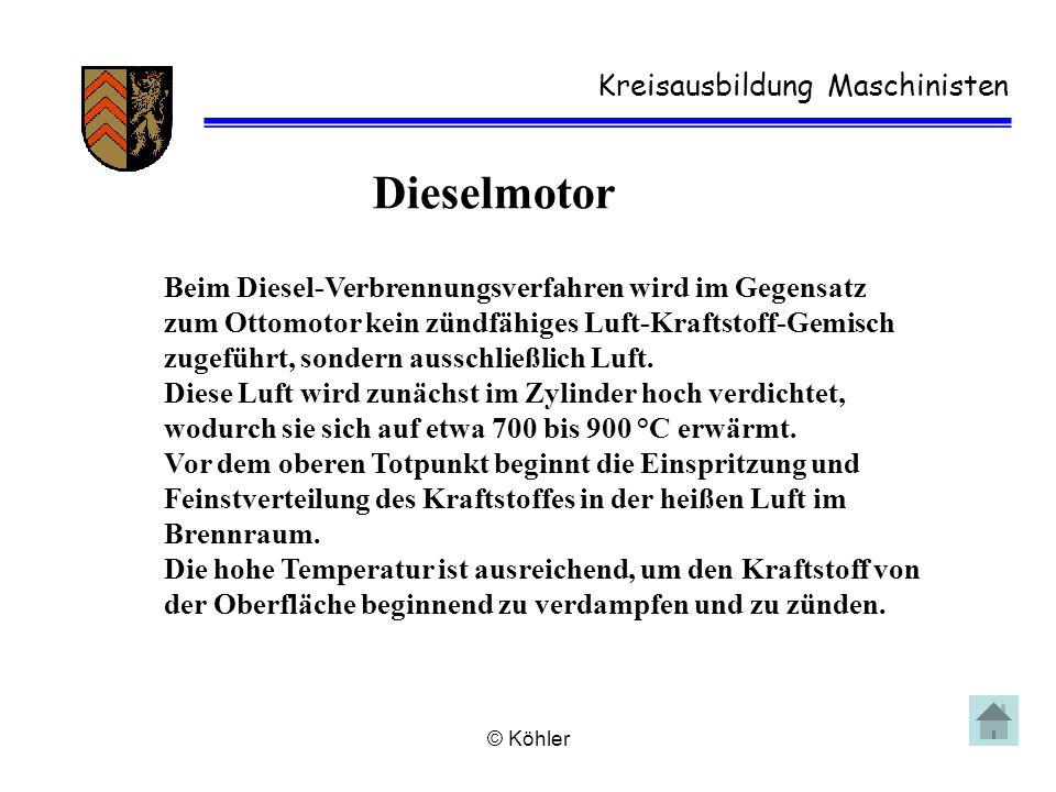 © Köhler Kreisausbildung Maschinisten Dieselmotor Beim Diesel-Verbrennungsverfahren wird im Gegensatz zum Ottomotor kein zündfähiges Luft-Kraftstoff-G