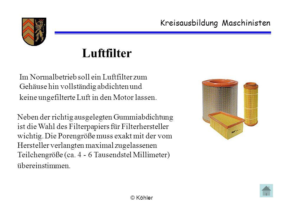 © Köhler Kreisausbildung Maschinisten Luftfilter Im Normalbetrieb soll ein Luftfilter zum Gehäuse hin vollständig abdichten und keine ungefilterte Luf