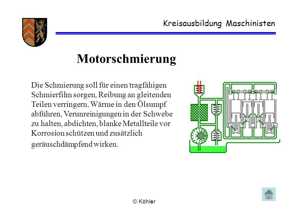© Köhler Kreisausbildung Maschinisten Motorschmierung Die Schmierung soll für einen tragfähigen Schmierfilm sorgen, Reibung an gleitenden Teilen verri