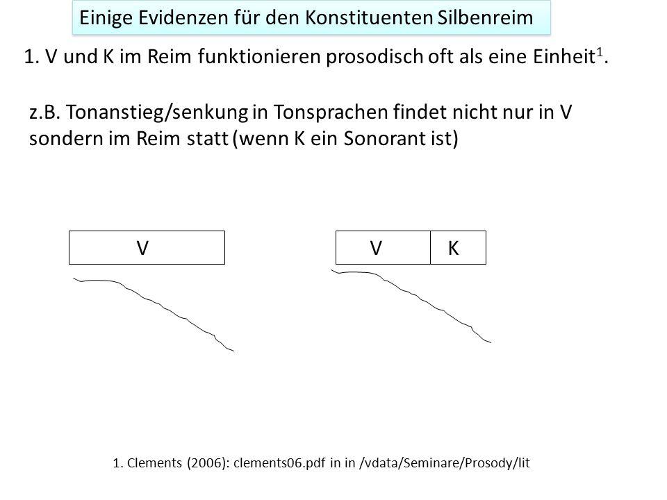 Einige Evidenzen für den Konstituenten Silbenreim 1. V und K im Reim funktionieren prosodisch oft als eine Einheit 1. z.B. Tonanstieg/senkung in Tonsp