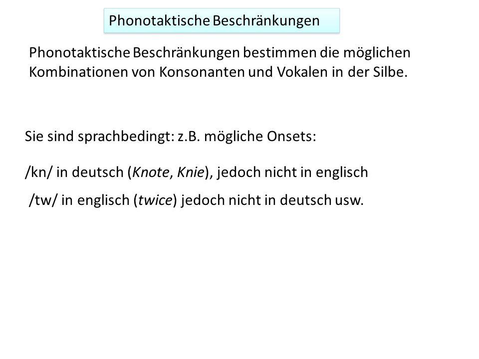 Phonotaktische Beschränkungen Phonotaktische Beschränkungen bestimmen die möglichen Kombinationen von Konsonanten und Vokalen in der Silbe. Sie sind s