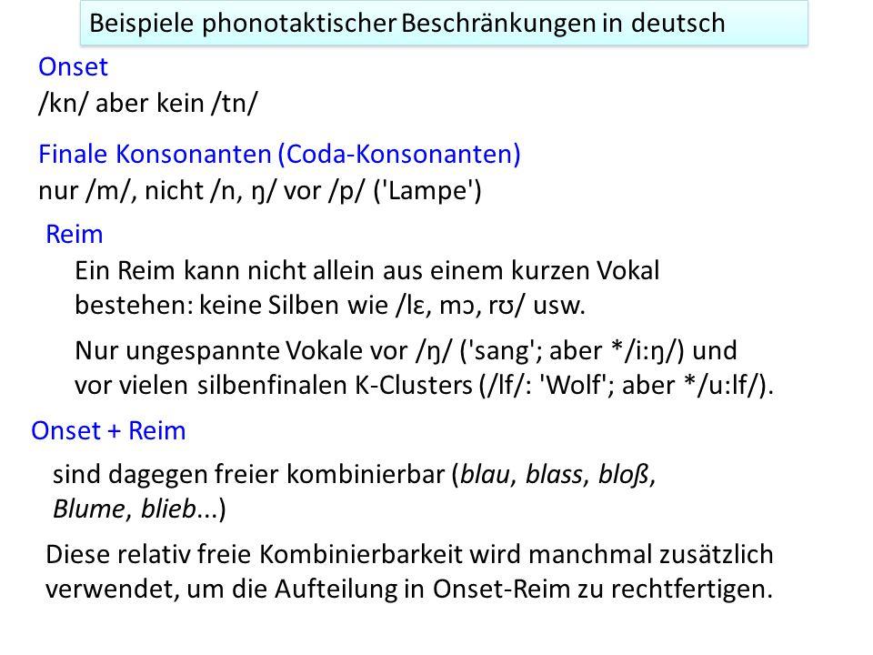 Beispiele phonotaktischer Beschränkungen in deutsch Onset Finale Konsonanten (Coda-Konsonanten) /kn/ aber kein /tn/ nur /m/, nicht /n, ŋ/ vor /p/ ('La