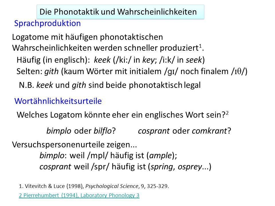 Die Phonotaktik und Wahrscheinlichkeiten Sprachproduktion 1. Vitevitch & Luce (1998), Psychological Science, 9, 325-329. Wortähnlichkeitsurteile Welch