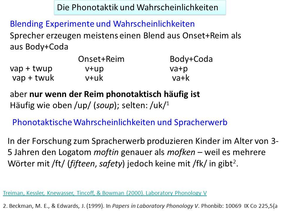Die Phonotaktik und Wahrscheinlichkeiten In der Forschung zum Spracherwerb produzieren Kinder im Alter von 3- 5 Jahren den Logatom moftin genauer als