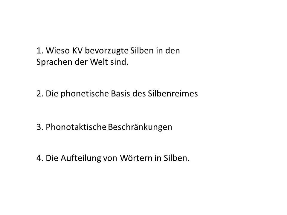 1. Wieso KV bevorzugte Silben in den Sprachen der Welt sind. 2. Die phonetische Basis des Silbenreimes 3. Phonotaktische Beschränkungen 4. Die Aufteil